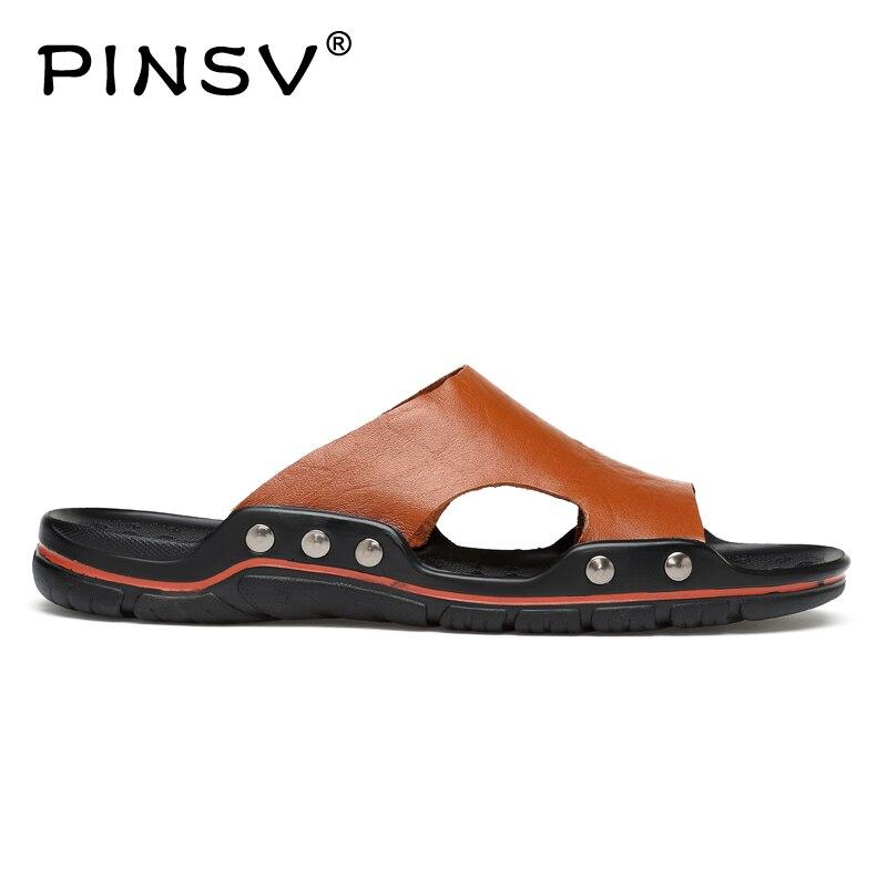 PINSV Summer Sandals Men Slippers Casual Shoes Men Leather Sandals Black Fashion Beach Slippers Men Big Size 38~48 fghgf shoes men s slippers mak