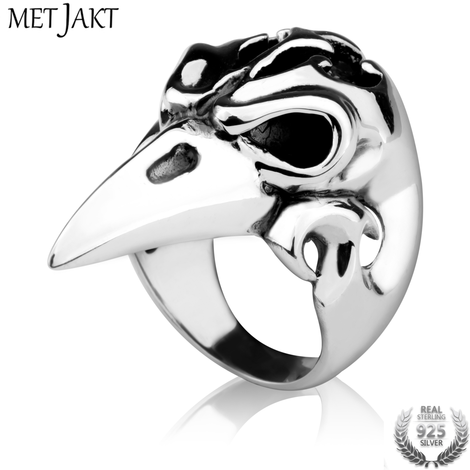 MetJakt Hyperbole Domineering Eagle Head Ring Solid 925 Sterling Silver Ring for Cool Mens Punk Rock JewelryMetJakt Hyperbole Domineering Eagle Head Ring Solid 925 Sterling Silver Ring for Cool Mens Punk Rock Jewelry