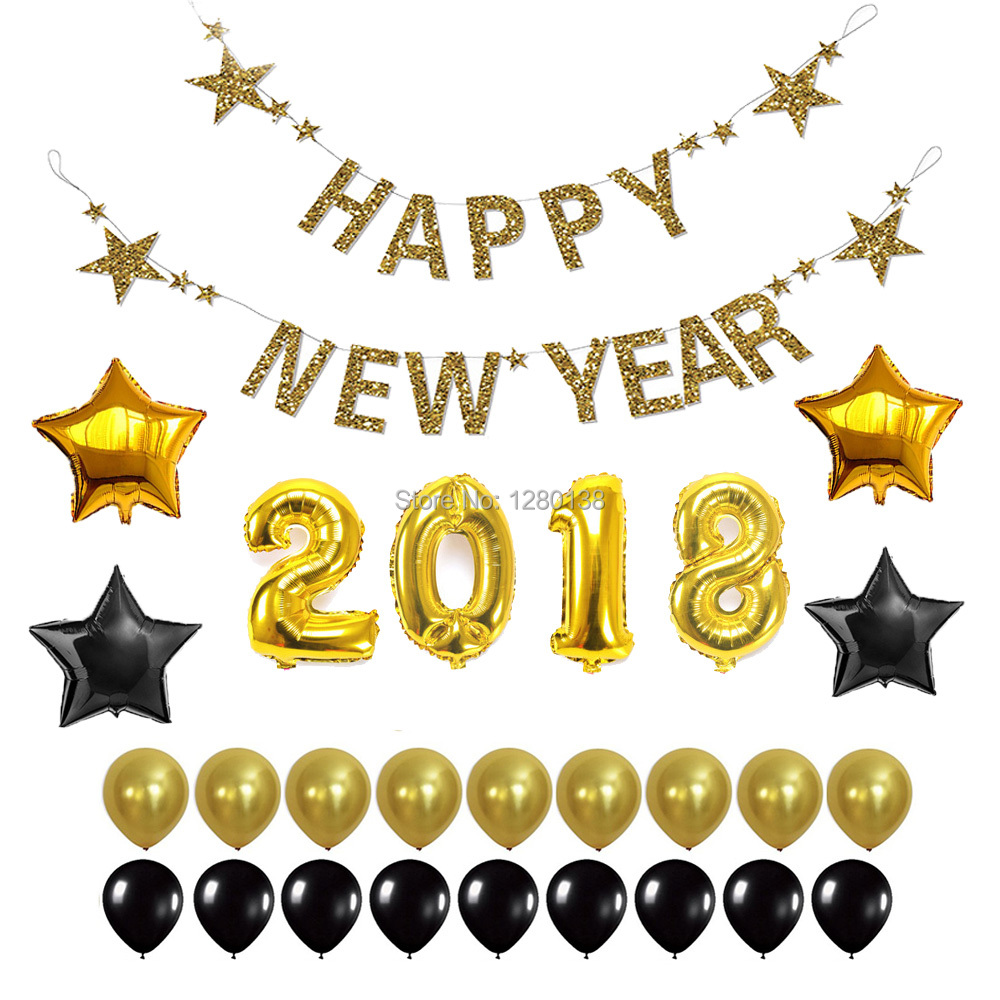 Happy New Year Bunting Banner 2018 Gold Foil Helium Number Balloons ...