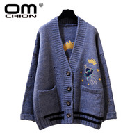 OMCHION Casaco Feminino 2018 Winter V Neck UFO Crown Embroidery Cardigan Women Oversized Korean Knit Sweater Thick Jumpers QS75