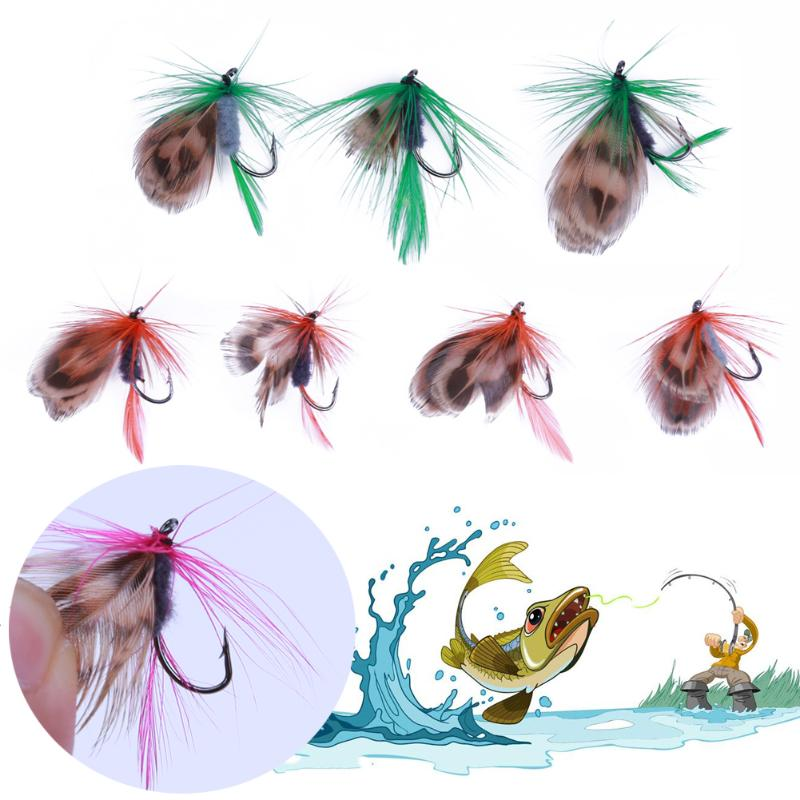 12pcs/Set Fly Fishing Lure Baits Set Floating Insect Dry Flies Fishing Lure Set Artificial Soft Bait Feather Single Hook Pesca 101pcs set fishing lure set various fishing kit set lead jig head hook grub worm soft baits shads silicone fishing tackle tool