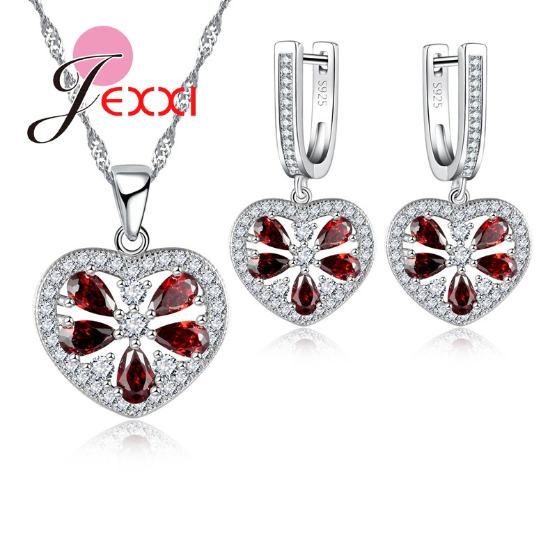JEXXI Beautiful Woman Jewelry Set Fashion Red font b Crystal b font Hollow Heart Pendant Necklace