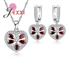 JEXXI Beautiful Woman Jewelry Set Fashion Red Crystal Hollow Heart Pendant Necklace Earrings 925 Stamp Sterling Silver