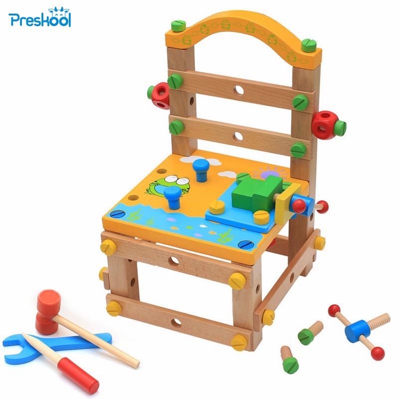 Multi function disassembly tool chair wooden assembly and disassembly screw nut combination children puzzle toy mamimamihome baby building blocks toys multi function wooden disassembly screw car children classic educational toys