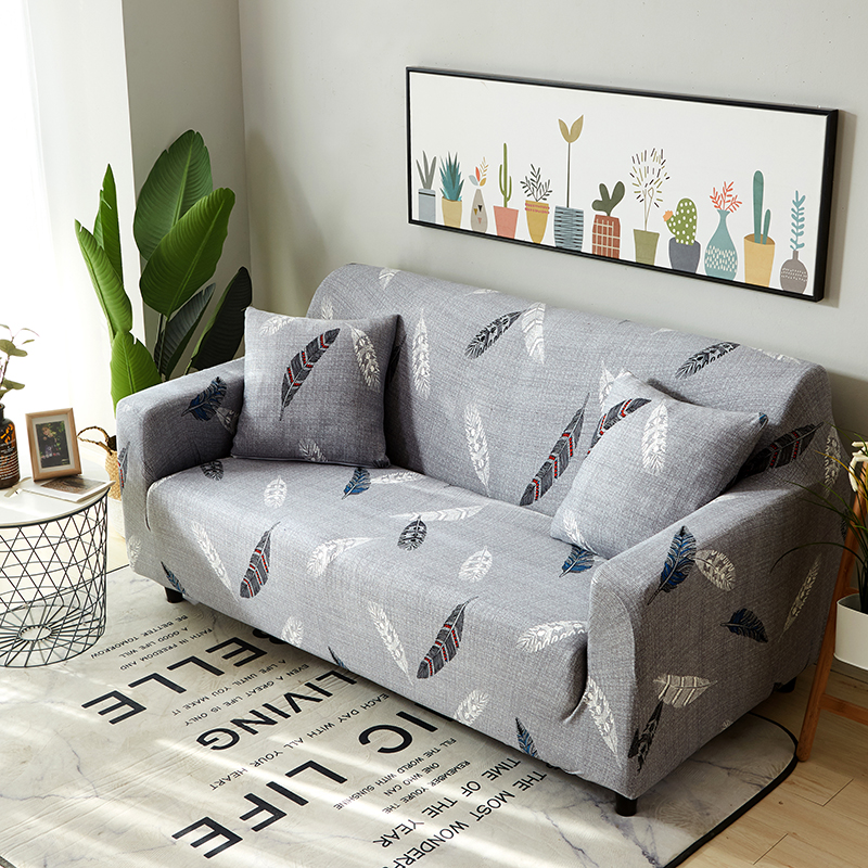 US $13.53 59% OFF|Grey Feather Printed Universal Stretch Furniture Covers  For Living Room Couch/Corner Sofa Slipcover Elastic Sectional Sofa Cover-in  ...