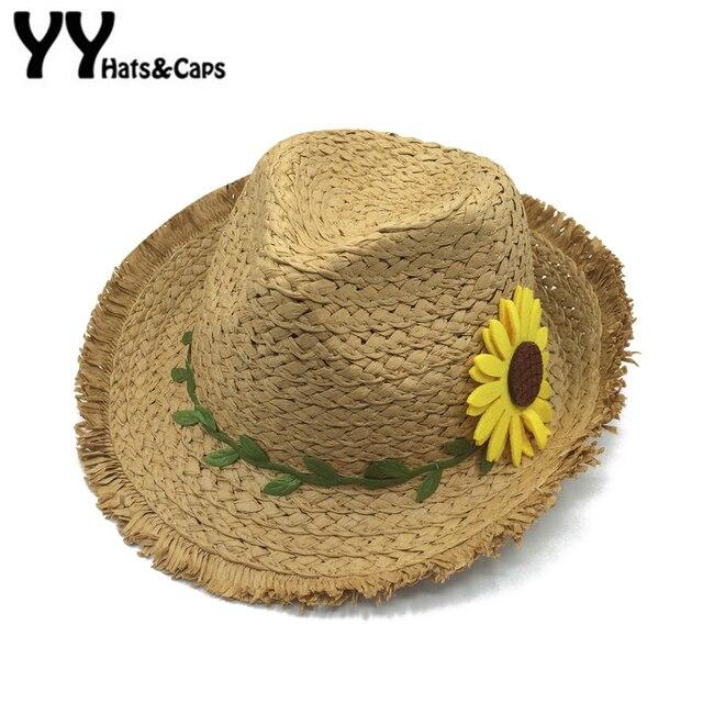 8436841bc Children Summer Panama hat Sunflower Beach Cap Girls Outdoor Sun Visor Hat  Kids Straw Jazz Fedora Ninos Panama Sombreros YY18079