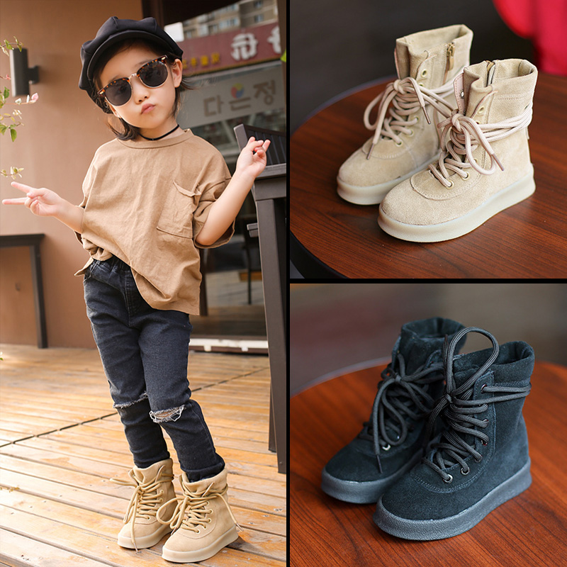 WENDYWU 2017 NEW spring new children's boots boys leather Martin boots girls in cylinder boots children shoes coconut boots