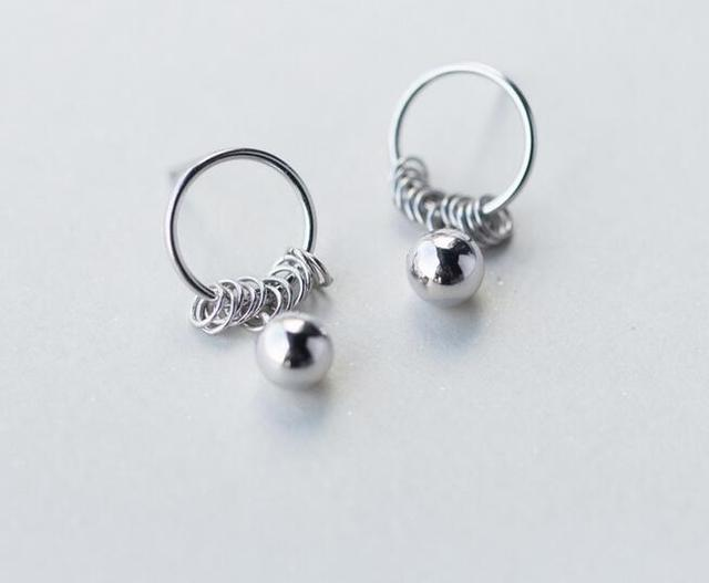 Real. 925 Sterling Silver jewelry polished ball &Circles dangle earrings long women's GTLE1258