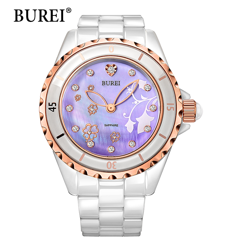 Women Watch BUREI Top Brand Casual Fashion Female Ceramic Diamonds Gold Quartz Wristwatch ladies dress watch female clock hours n light бра b 891 1 матовое золото