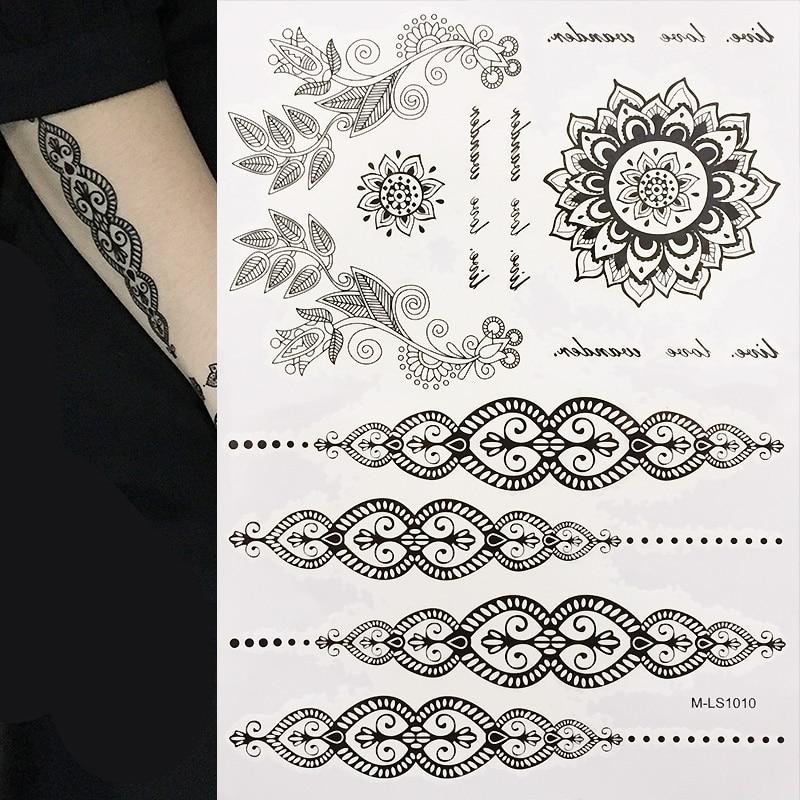 De mest populära Svart Henna Tatueringar Tillfälligt Inspirerade - Tatuering och kroppskonst - Foto 3