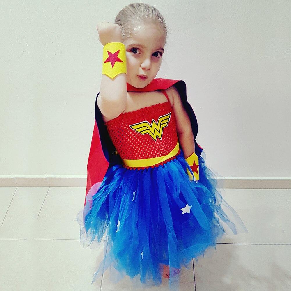 Cartoon Princess Girls Wonder Woman Tutu Dress Cosplay Costume Superhero Baby Birthday Outfit ...