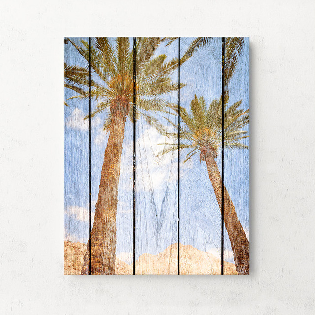 Art Print Oil Painting Coconut Tree Framed Wood Pattern Home/Store ...