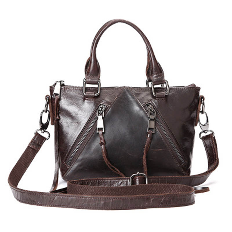 Genuine Cow Leather Ladies' Handbags Vintage Women's Cell Phone Bag Crossbody Shoulder Bags Cowhide Oil Wax Female Packet LS0135 aetoo the new oil wax cow leather bags real leather bag fashion in europe and america big capacity of the bag