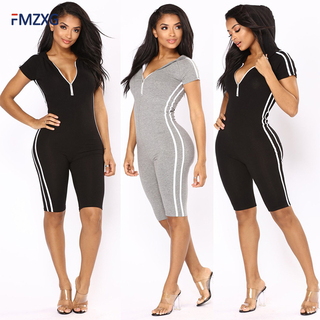 d33cd2fdf399 Joga 2018 Summer Women Side Striped Bodycon Rompers and Slim Jumpsuits Sexy  Black Short Sleeve V