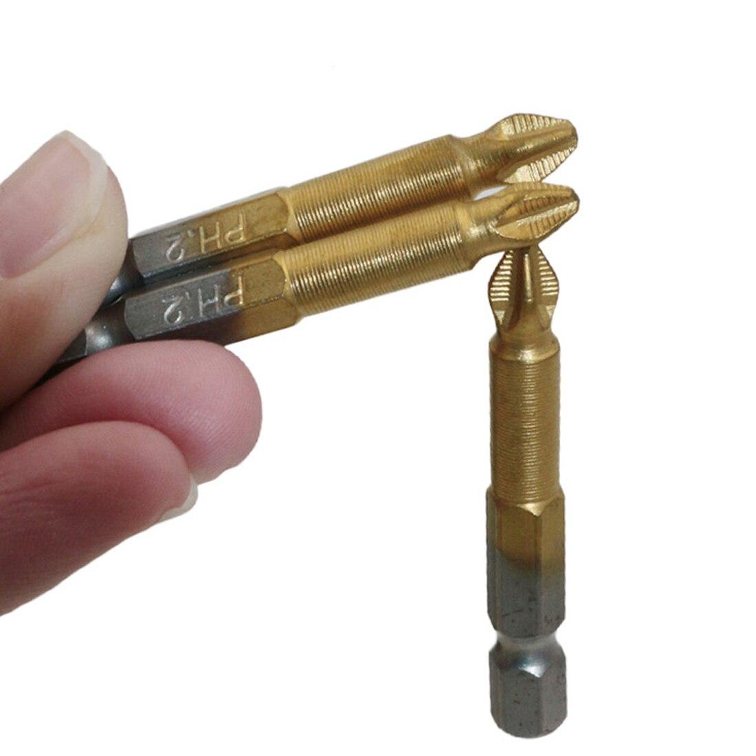 High Quality 5Pcs Anti Slip Electric Screwdriver Bits Single Side Magnetic Hex Shank PH2 50mm