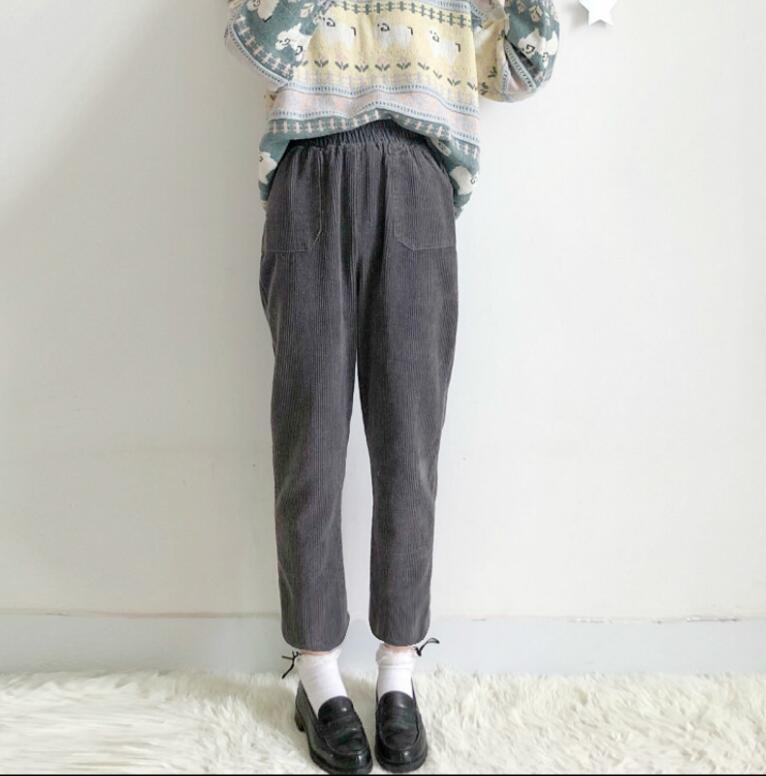 Осенне-зимняя обувь женщины японский мягкий сестра Harajuku брюки от «Harlan» свободные в духе колледжа 9 штанов