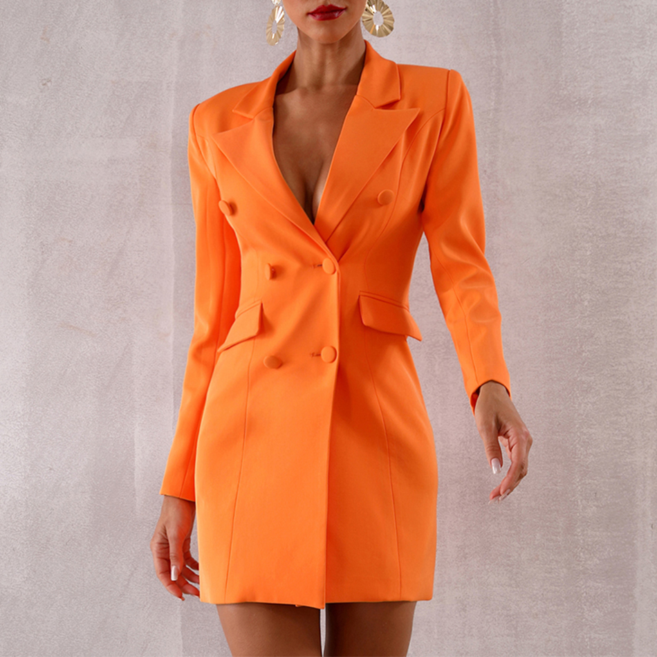 Seamyla 2019 New Orange Deep V Notched Slim Blazers Elgant Double Breasted Women Coats Sexy Slim Summer Casual Out Wear Vestidos-in Blazers from Women's Clothing    1