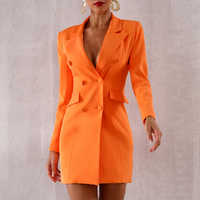 Seamyla 2019 New Orange Deep V Notched Slim Blazers Elgant Double Breasted Women Coats Sexy Slim Summer Casual Out Wear Vestidos