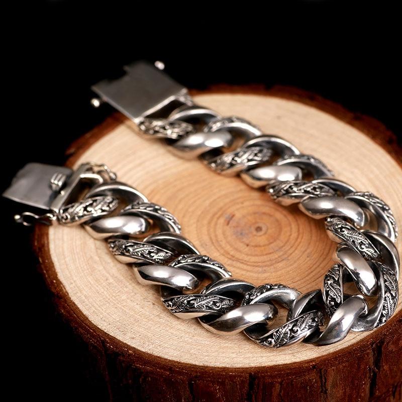 Image 3 - ZABRA Plant Totem Genuine 925 Silver Bracelets Punk Rock Vintage Heavy Sterling Silver Bracelet Men Luxury Male Biker Jewelry-in Chain & Link Bracelets from Jewelry & Accessories