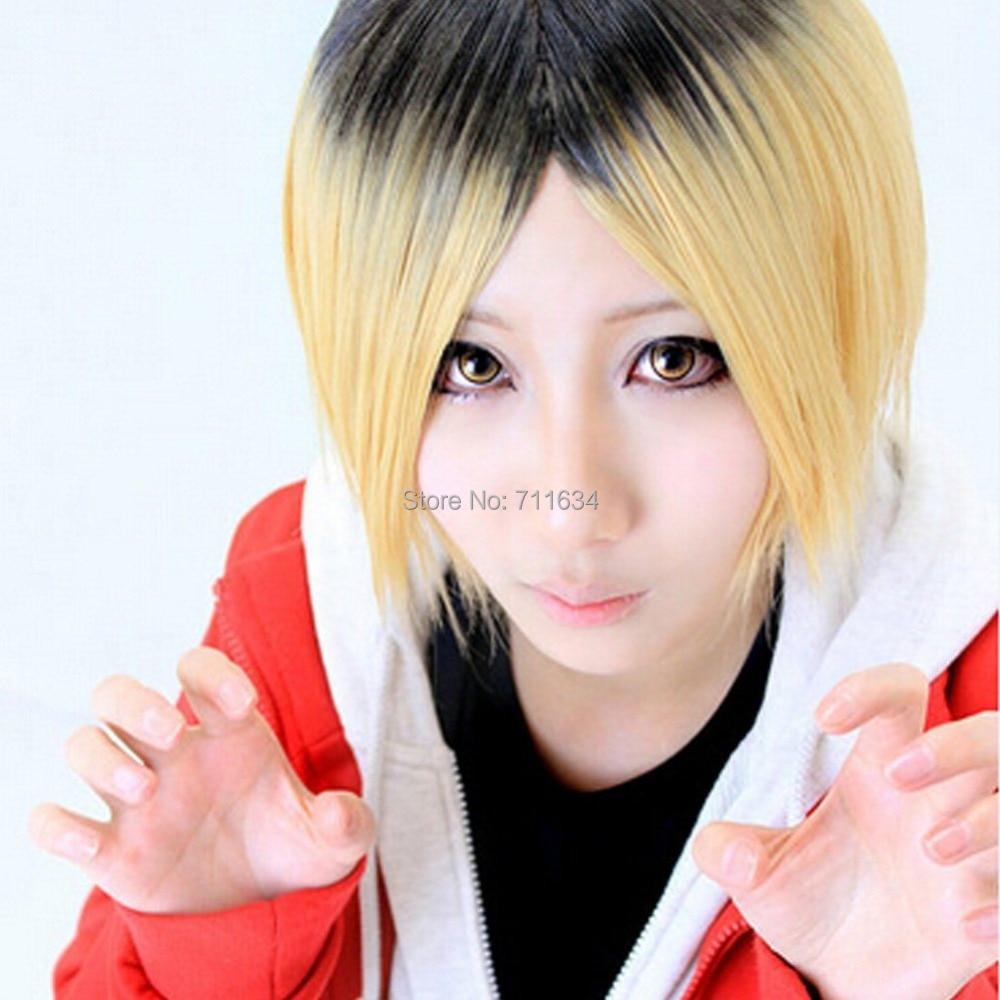 Haikyu!! Kenma Kozume Golden Mix Black Short Cosplay Wig ...