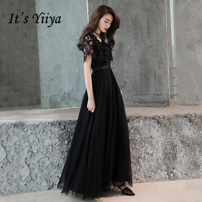 It's YiiYa   Evening     Dress   Black V-neck Embroidery Lace Wedding Formal   Dresses   Flowers Short Sleeve Long Party Gowns E334