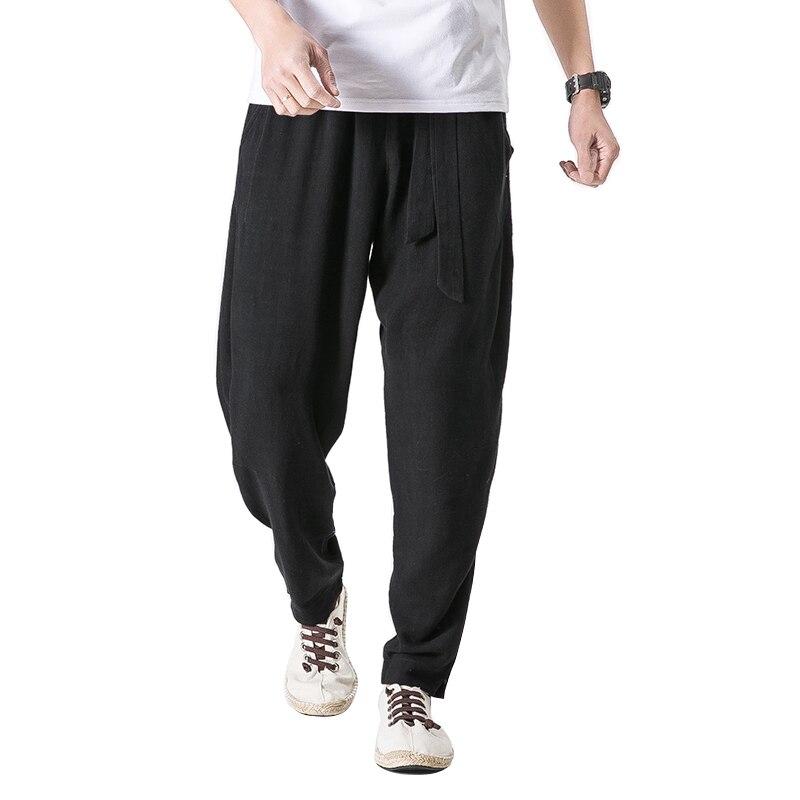 2018 Baumwolle Leinen Harem Hosen Männer Jogger Hosen Männlichen Hosen Chinesische Traditionelle Kleidung Größe Plus 5xl
