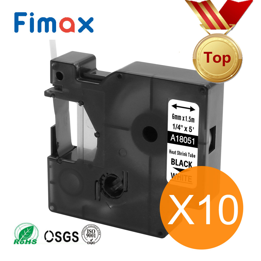 Fimax 10 Pcs Compatible Dymo Industrial Heat Shrink Tube 18051 18052 18053 18054 18055 18056 A1805443