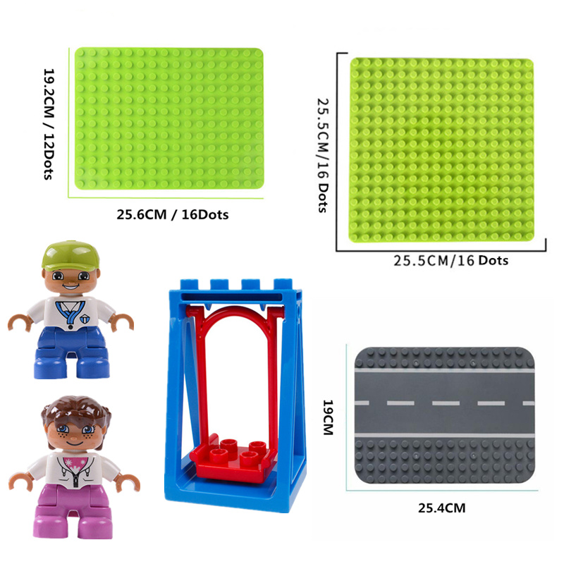 Big Size Diy Building Blocks Base Plate Compatible With Duploed Baseplate Bricks Figures Accessories Toys For Children Kids Gift