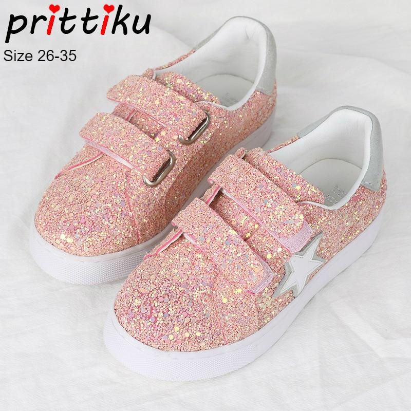 цена на Autumn 2018 Girls Glitter Sequin Fashion Flat Sneakers Toddler/Little/Big Kid Star Pink Trainers Children Sports School Shoes