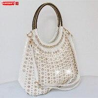 2018 Новая Мода Алмазный женские сумки дикая лакированная кожа сумка на ремне со стразами большой емкости посылка сумка