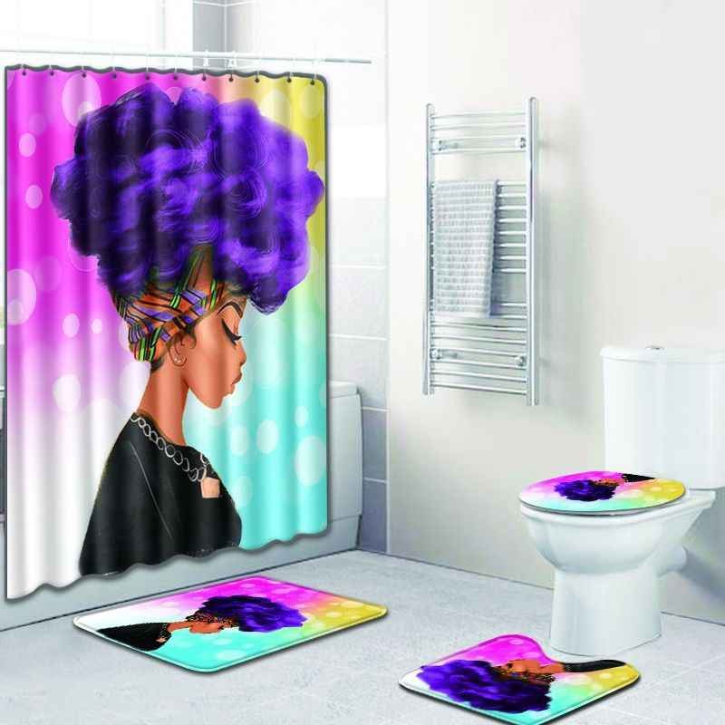 4 Pcs African Girl Shower Curtain/Bath Mat/Toilet Pad Set Character Pattern Anti-slip Toilet Pattern Carpet Flannel Bath Mat
