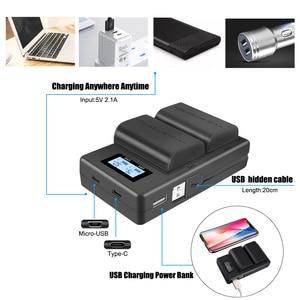 Image 2 - Palo lcd duplo usb carregador LP E6 lp e6 lpe6 câmera carregador de bateria para canon 5d mark ii iii 7d 60d eos 6d 70d 80d câmera