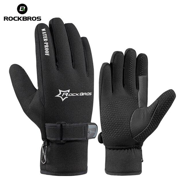 ROCKBROS сноуборд флисовые теплые лыжные перчатки катание на лыжах Зимние непромокаемые защитные перчатки гелевые Нескользящие противоударные Мотоциклетные Перчатки