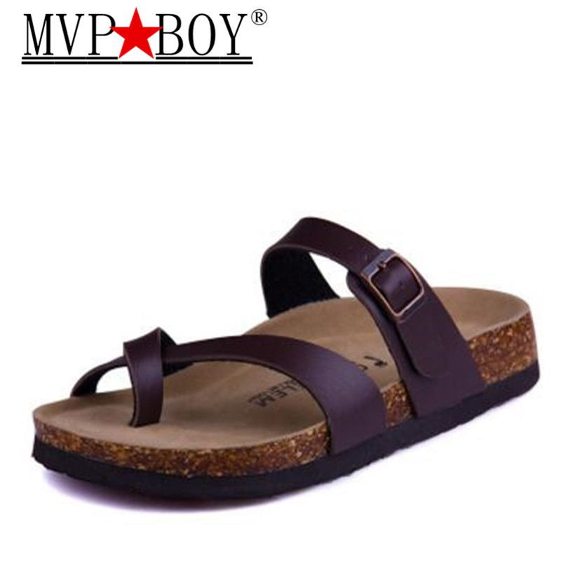 Mvp Boy New Summer Men Beach Cork Slipper Flip Flops Sandals Man Mixed Color Casual Slides Shoes Flat with Plus Size 35-45 women cork slipper flip flops sandals women mixed color bohemia thick bottom slides shoes open toe flat summer style plus size 8