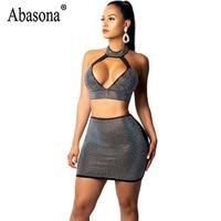 Abasona Sexy Women 2 Piece Sets Diamond Dress Robe Deep V Halter Sleeveless Bodycon Mini Dress Women Night Club Dresses Sundress