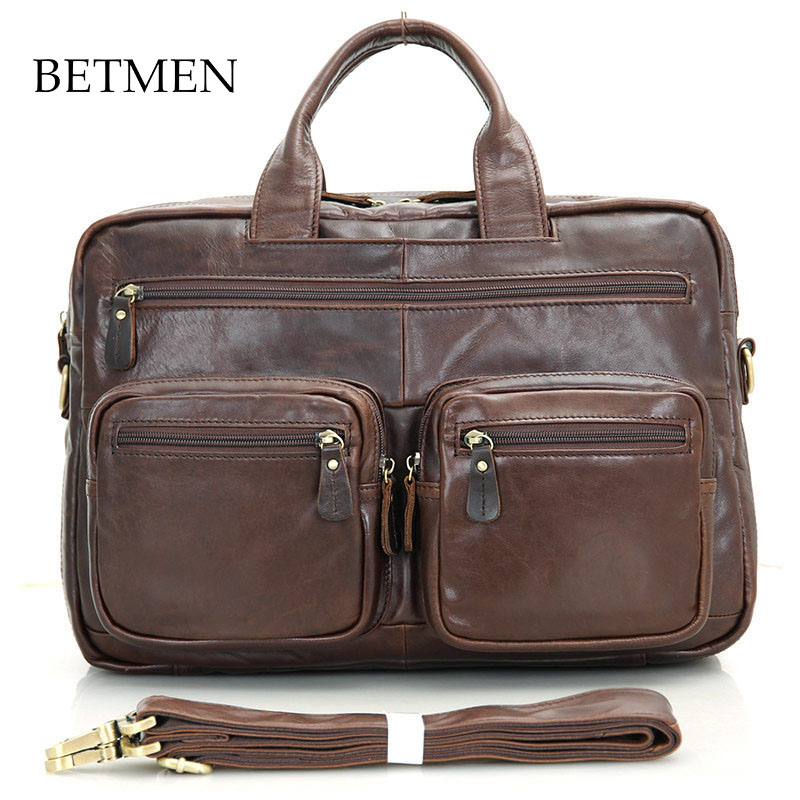 BETMEN Luxury Genuine Leather Bag Cowhide Handbag Men Shoulder Bags Business Men Briefcase Laptop Bag 100% genuine leather men bag brand designed men laptop briefcase business bag cow leather men handbag shoulder bag messenger bag