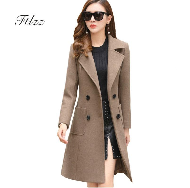 2018 New Women Autumn Winter Plus Size 4xl Wool Coats Warm Slim Fashion Lady Casual Office Blends Womans Long Coat Jackets