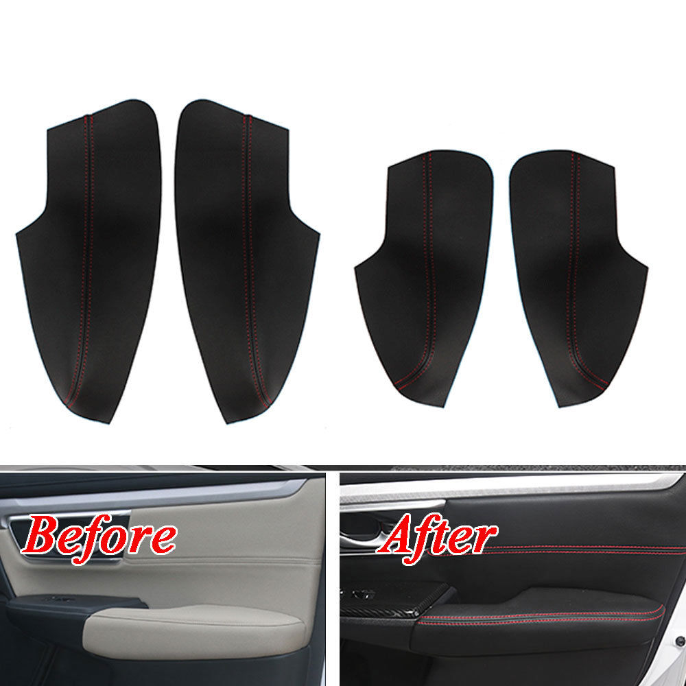 For Honda CRV CR-V 2017 Door Armrest Decor Surface Cover Panel Trim PU Leather Anti-collision Car Styling Covers Protect Overlay стоимость