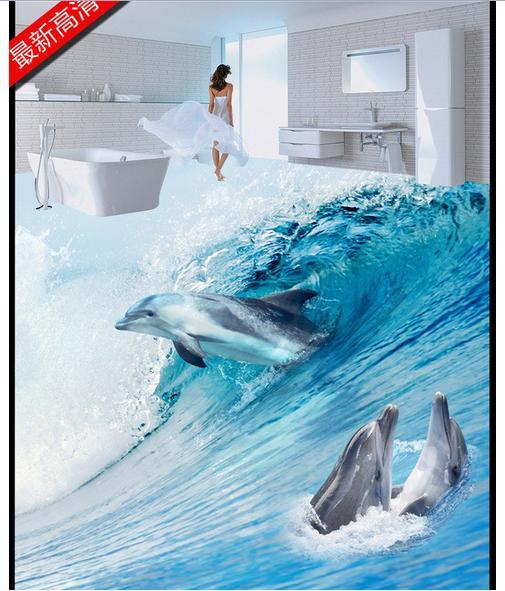 ФОТО Custom photo Waterproof floor wallpaper waves of the sea dolphins swimming 3d mural PVC wallpaper self-adhesion floor wallpaer