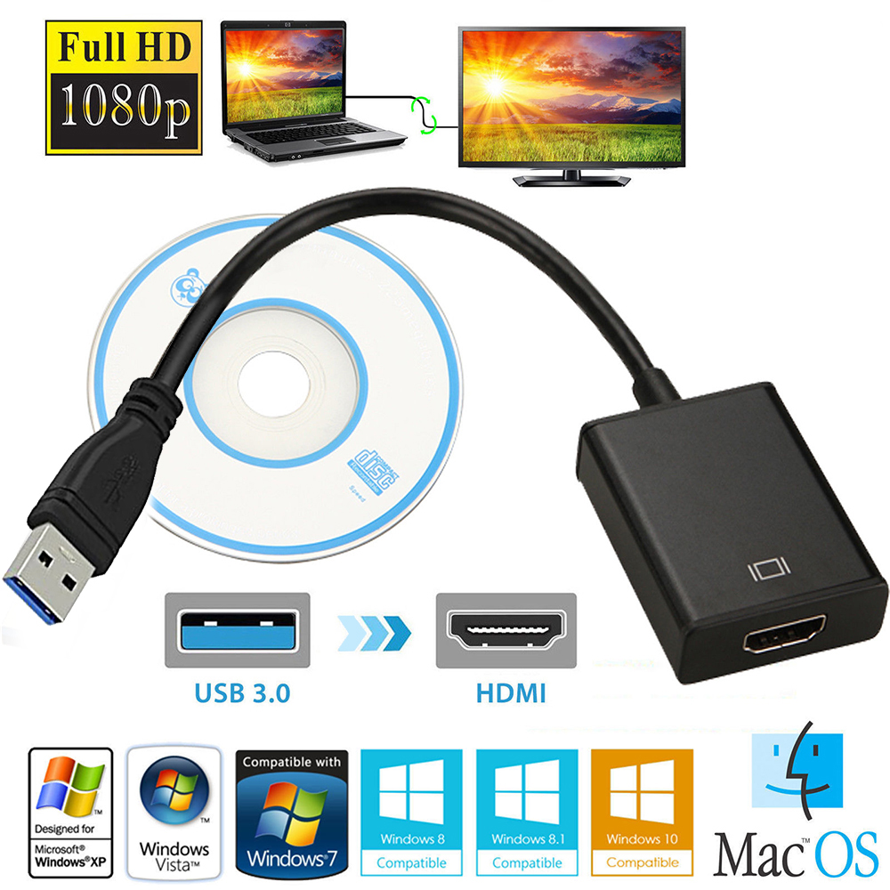 black usb 3 0 to hdmi audio video adaptor converter cable for windows 7 8 10 pc hdtv hd 1080p. Black Bedroom Furniture Sets. Home Design Ideas