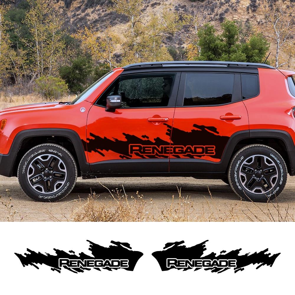 2 PCS Vinyl Auto Side Skirt Stripe Car Sticker Decal For Jeep Renegade Compass