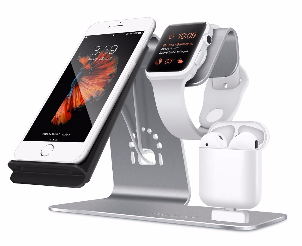 bestand 3 in 1 aluminum iwatch stand airpods charging. Black Bedroom Furniture Sets. Home Design Ideas