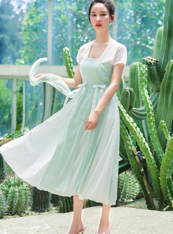 ad8025708047c شحن مجاني شعبي حار بيع ساحة طوق اللون كتلة قصيرة الأكمام المرأة الشيفون  فستان طويل