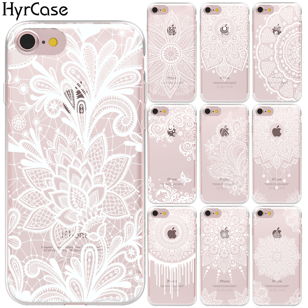 Mandala Lace Flower National Wind Totem Soft TPU Case <font><b>Cover</b></font> For <font><b>iPhone</b></font> 7 <font><b>8</b></font> 6 6S Plus 5S SE X XS Max XR <font><b>Sexy</b></font> Floral Silicon Capa image