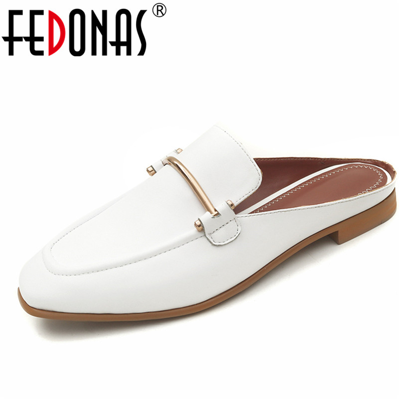 FEDONAS Women 2018 New High Qulaity Genuine Leather Summer Shoes Woman Fashion Low Heels Casual Comfort Sandals Female Slippers 2018 new summer shoes woman high heels