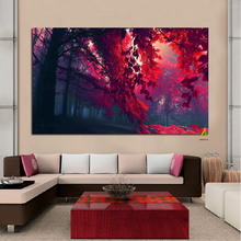 YWDECOR Red Autumn Landscape Digital Prints Canvas Painting Posters Modern Wall Art Picture Living Room Home Decor