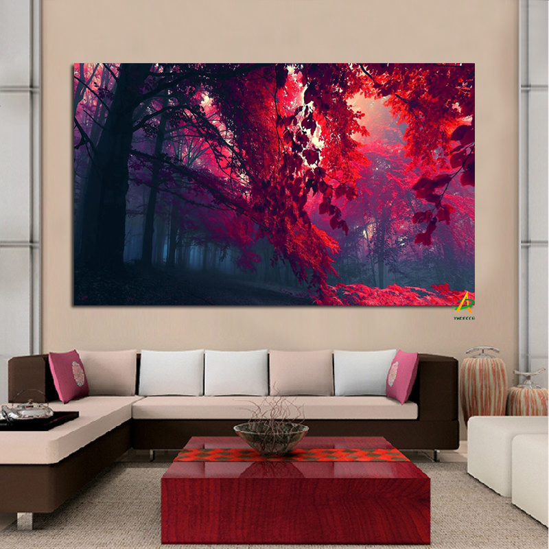 YWDECOR Rojo Otoño Paisaje Impresiones digitales Lienzo Pintura Carteles Moderno Arte de la pared Imagen Sala de estar Decoración del hogar