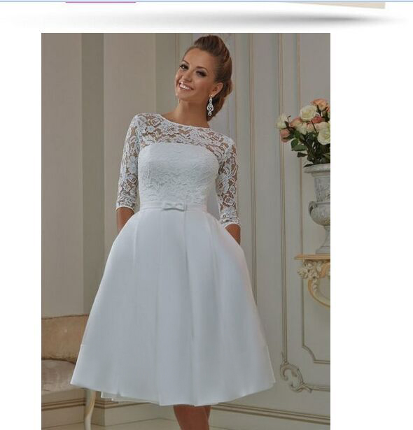 32c8f3f714854 US2 4 6 8 10 12 14 16 18++ Lace Short Wedding Dresses 2016 With Pockets  Three Quarter Sleeve A Line W2473 Vestido de Noiva Sheer