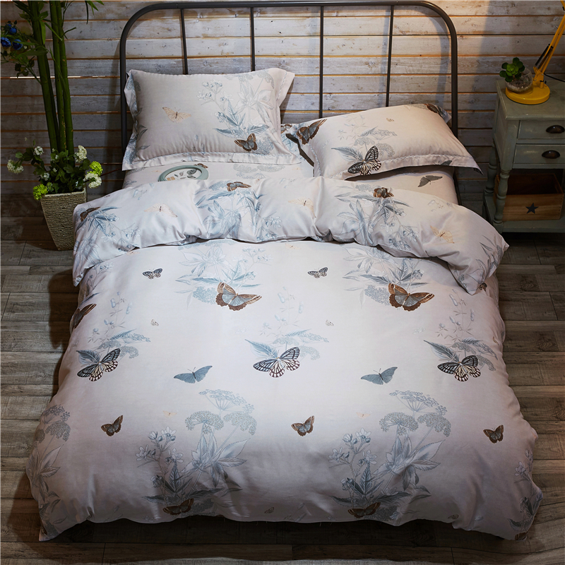 stylish and elegant butterfly pattern silk was tencel comforter bedding home textiles 4 pcs duvet cover soft - Tencel Sheets