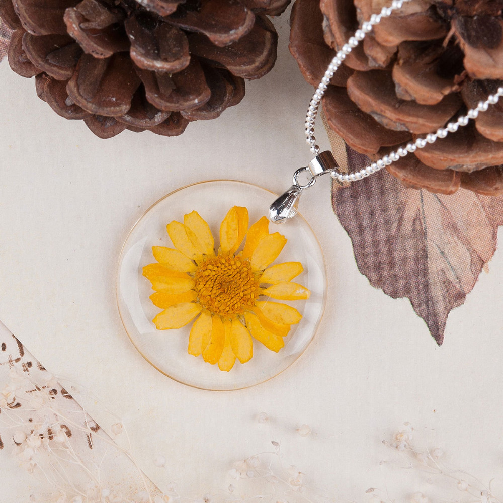 Dried Flower Necklace - yellow